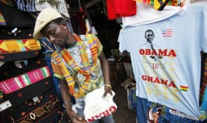 Vendor with Obama memorabilia in Ghana, July 11, 2009