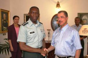 SEYCHELLES - Seychelles President James Michel (right) shakes hands with General William E. Ward, commander of U.S. Africa command, during Ward's visit to the island nation in August 2009. Michel and Ward engaged in discussions on security-related issues, including the strengthening of U.S. surveillance in collaboration with the Seychelles government to fight against piracy. (Photo courtesy of Seychelles, Office of the President)