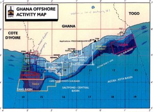 Oil map offshore Ghana from Borneo British Petroleum