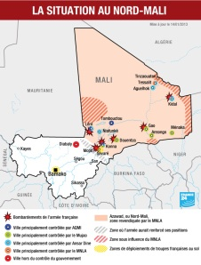 Map of conflict in Mali, Jan 14, 2013